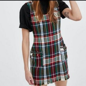 NEW Zara Retro Tweed Plaid Mini Dress XXL